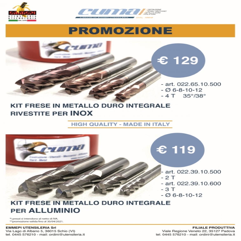 Promozione kit frese Cuma di diverso diametro: Inox e Alluminio