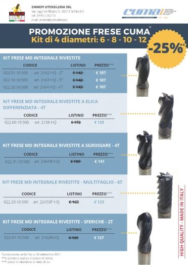 PROMO CUMA <br /> Kit frese Cuma in 4 diametri <br /> <h5> Scadenza 30/09/2021 </h5>