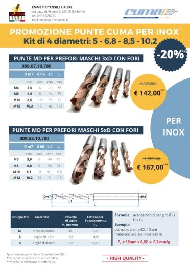 PROMO CUMA. Kit punte per prefori per inox <br />  <h5> Scadenza: 30/09/2021 </h5>