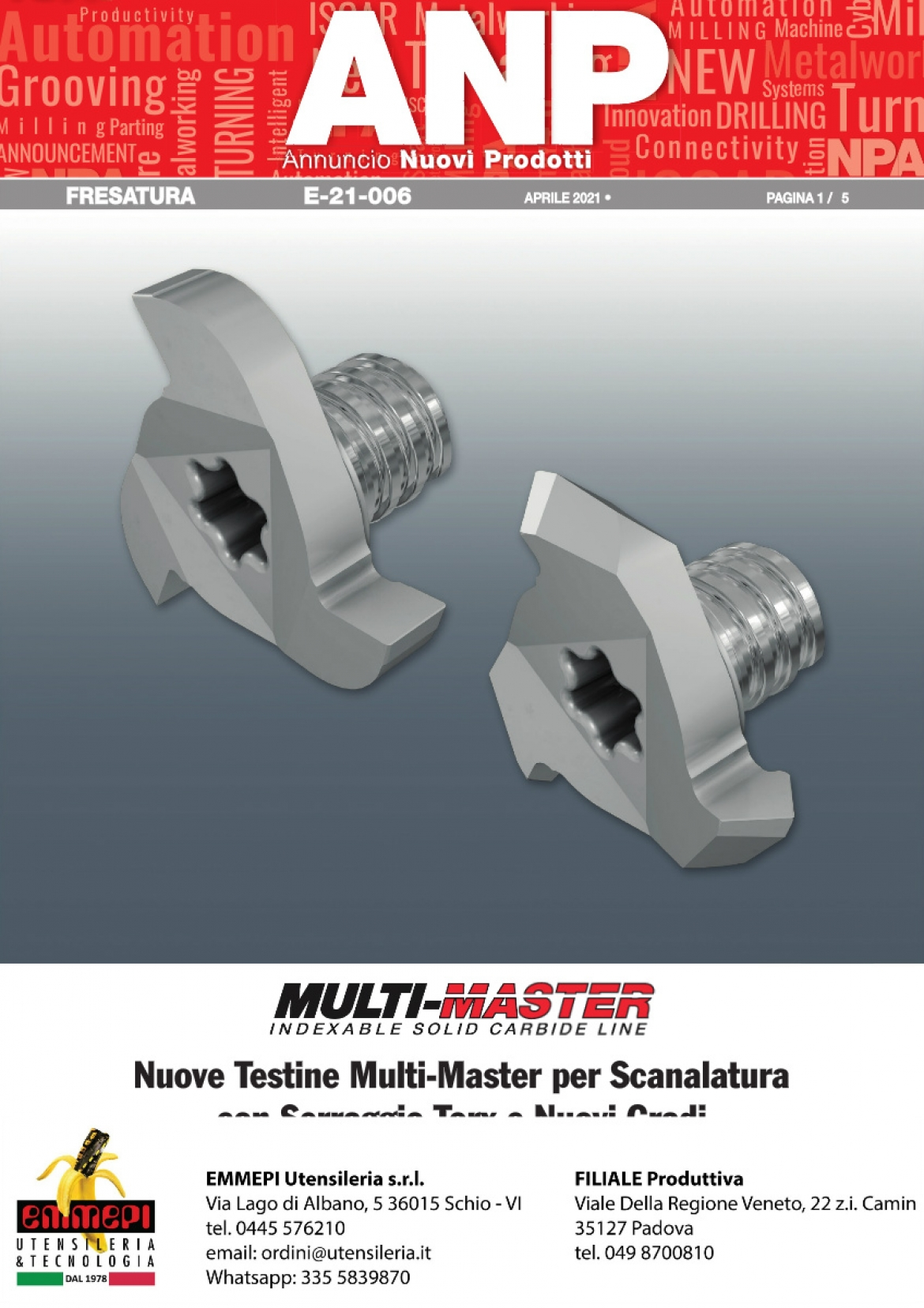 Nuovi prodotti Iscar FRESATURA. Testine Multi-Master per Scanalatura