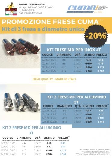 Promozione kit 3 frese Cuma a diametro unico: Inox e Alluminio